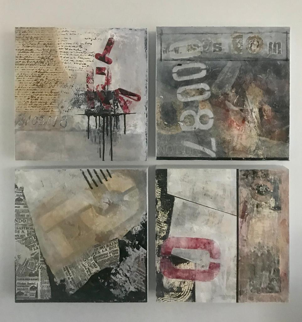 Mercedes Inaudi Untitle Series I, 2018 2019 mixed media on wood 16x16 inches each piece (1)