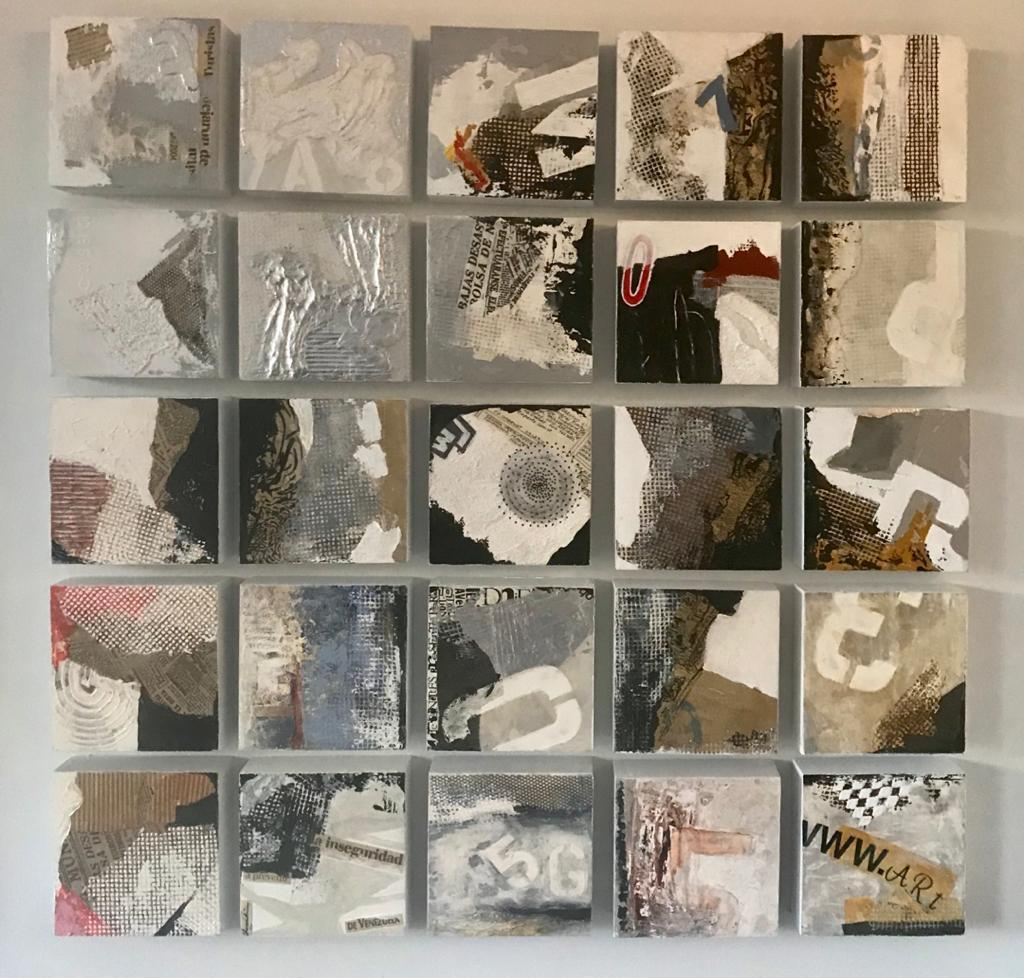 Mercedes Inaudi Untitle Series IV, 2018 2019 mixed media on wood 6x6 inches each piece