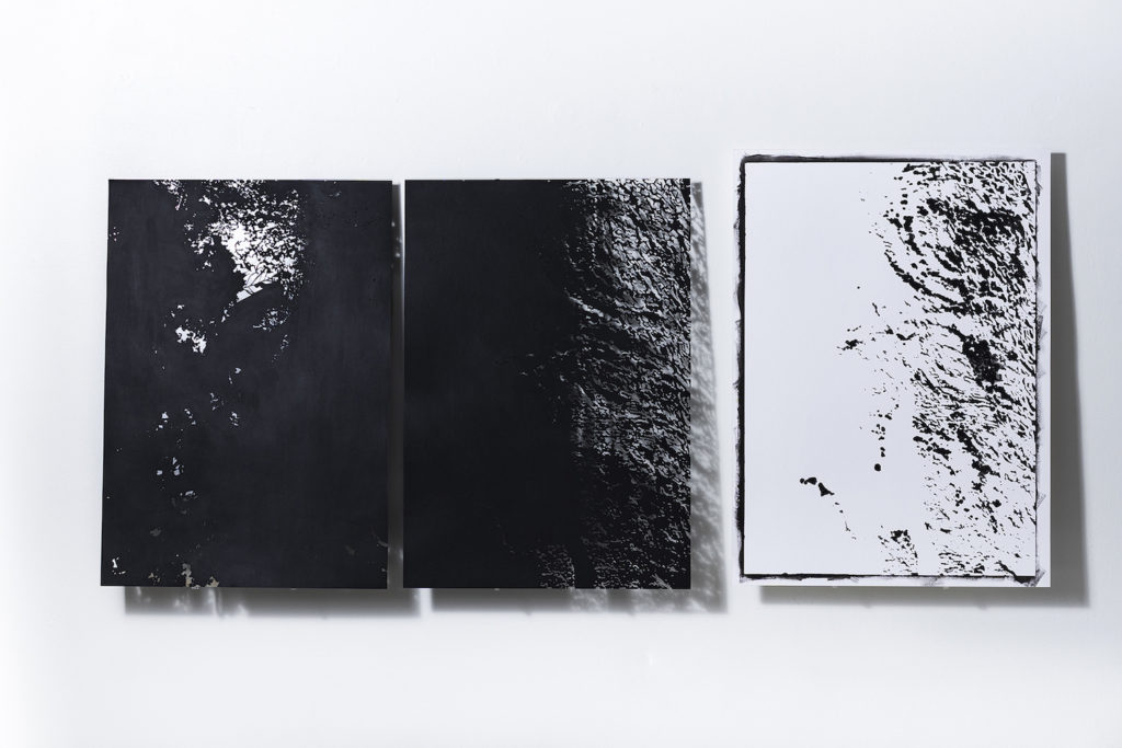 Toña Vegas - Scriptures. Leaves & Bark - Traces. Bark- 2018- 34__x24__ - Perforated Hahnemulhe paper & black gesso - Hahnemulhe paper & black gesso- Photo@pedrowazzan