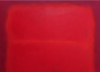 red-on-red-color field painting